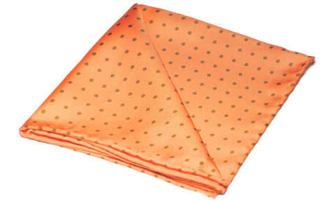 Indiana,orange silk pocket square, polkadot silk handkerchief, polkadot pocket square, pocket squares online, pocket squares uk, mens handkerchief