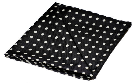 Felix,black and white polkadot pocket square, polka dot pocket square, polkadot silk hank, handkerchief