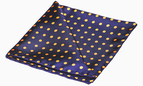 Rocco,navy polkadot pocket square, blue orange handkerchief, silk handkerchief, silk square