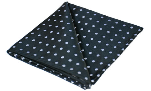 Axel,black and white polkadot handkerchief, silk handkerchief, silk pocket square, polkadot silk pocket square