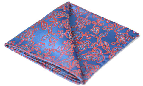 Odysseus,blue silk pocket square, floral silk handkerchief, floral pocket square, buy pocket square online, mens pocket squares