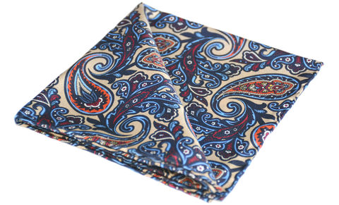 Mikolas,paisley silk pocket square, silk pocket square, silk handkerchief, cravat and handkerchief, silk square, silk pocket square uk, cravats and handkerchiefs