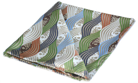 Raiden,japanese pocket square, waves pocket square, japanese waves pocket square, silk handkerchief