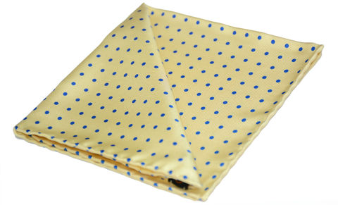 Kian,yellow silk handkerchief, polkadot handkerchief, mens handkerchief, silk pocket square uk, pocket squares online