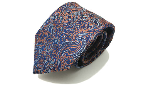 LIONHEART,blue orange paisley silk necktie, blue orange paisley silk tie, woven silk paisley tie, woven silk paisley necktie