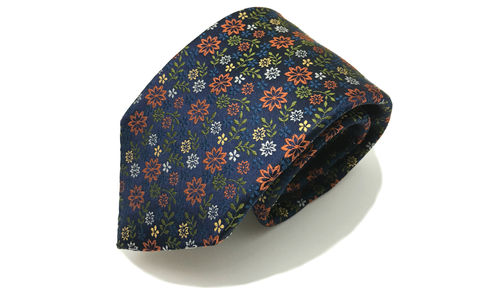 MAGNUS,orange floral necktie, floral silk necktie, orange navy flowers tie, floral woven silk tie, floral tie, mens floral silk tie, flower pattern silk tie