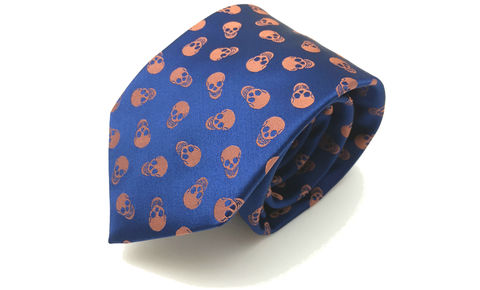 SETH,skulls silk necktie, skull pattern silk tie, silk ties for men, silk neckties uk, skull necktie, skull tie, skulls necktie online, navy and orange skulls silk necktie