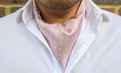EUAN,polkadot cravat, polka dot cravat, polkadot ascot tie, purple yellow spots cravat, purple yellow polkadot cravat tie, purple spotty cravat, purple spots ascot tie, silk polkadot cravat, silk polka dot ascot tie