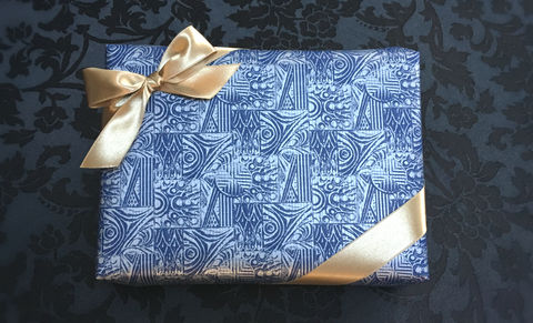 Blue,Wrap,&,Gold,Ribbon