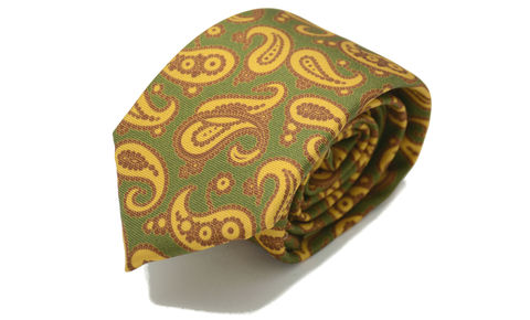 BRYN,paisley silk tie, vintage style paisley tie, green paisley silk tie, green yellow brown tie, printed silk ties for men, ties for men online, printed silk necktie