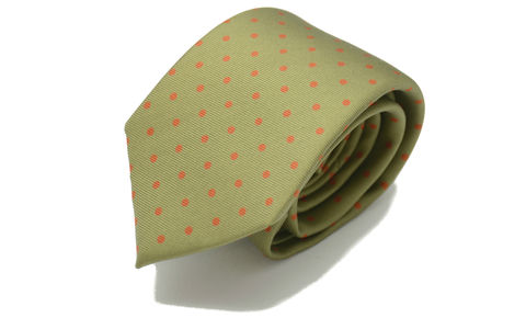MORGAN,green brown polkadot silk tie, olive green polkadot tie, khaki green polka dot tie, polkadot ties for men, printed silk polka dot tie, spotty silk ties for men, silk ties for men online, ties made in england, silk ties made in britain