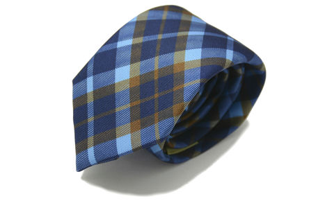 FRASER,tartan silk necktie, tartan blue tie, tartan blue brown tie, brown tartan tie, plaid tie, check pattern silk tie, silk ties for men, mens silk neckties, ties made in england, silk ties made in britain