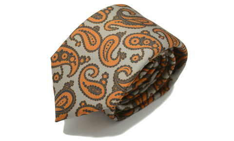 IDRIS,paisley silk tie, paisley silk necktie, brown orange silk tie, brown silk tie, paisley silk ties, silk ties online, mens silk ties online
