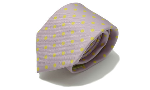 EUAN,lilac polka dot silk tie, polkadot tie, yellow purple silk necktie, yellow purple polkadot silk tie, spotty silk tie, printed silk polkadot tie, printed silk polka dot tie, polkadot silk tie, silk ties for men, mens silk ties online