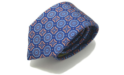 AUSTEN,navy orange silk tie, geo pattern silk tie, geometric silk tie, silk ties for men online, mens silk ties, silk ties uk, silk ties for men