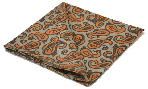 Idris,grey orange paisley silk pocket square, paisley silk pocket square, paisley handkerchief, silk squares for men, silk pocket squares online, paisley pocket square uk