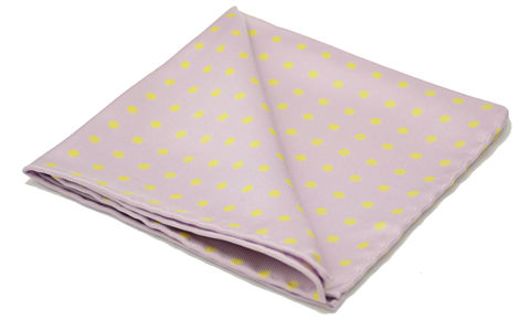 Euan,purple polkadot pocket square, lilac pocket square, purple yellow polka dot pocket square, silk pocket square, polkadot silk pocket square, silk handkerchiefs uk, mens silk hanks uk, mens silk pocket squares