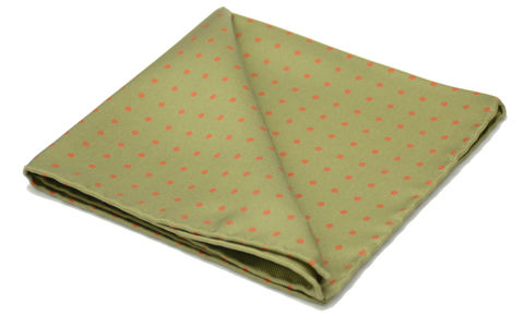 Morgan,olive green polkadot pocket square, green and copper pocket square, polkadot pocket square, silk pocket square, polka dot pocket square, polkadot hanky, silk handkerchief, silk hanks uk, mens silk pocket squares