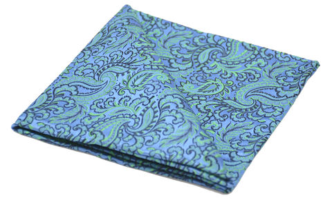 Halcyon,blue green paisley silk square, blue yellow silk pocket square, pocket squares for men, silk pocket squares online, silk pocket square, silk hanks online, silk handkerchiefs, buy pocket squares, pocket squares made in england