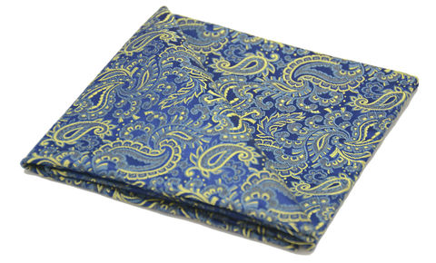 Murdoch,blue paisley silk pocket square, blue paisley silk square, pocket squares for men, silk pocket squares online, silk pocket square, silk hanks online, silk handkerchiefs, buy pocket squares, pocket squares made in england
