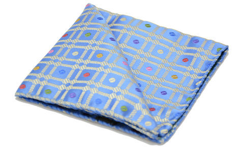 Horatio,blue gold silk square, blue silk pocket square, pattern silk pocket square, patterned silk handkerchief, pocket squares for men, silk pocket squares online, silk pocket square, silk hanks online, silk handkerchiefs, buy pocket squares, pocket squares made