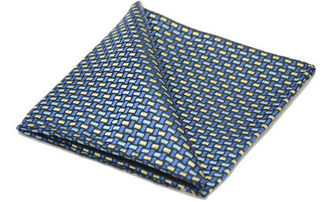 Bentley,blue yellow silk pocket square, blue woven silk pocket square, blue silk pocket square, silk squares for men, silk pocket squares online, pocket squares online,