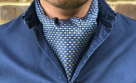 BENTLEY,blue woven silk cravat, blue silk ascot tie, blue ascot, blue cravat, blue yellow cravat, blue yellow ascot, silk cravats for men, silk ascots online