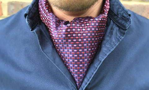 CASSIAN,red woven silk cravat, red pink silk ascot, red and pink silk cravat, woven silk ascot, silk ascot ties for men, silk cravats for men
