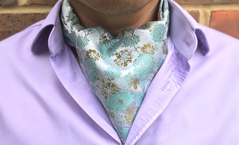 MADOKA,green silk cravat, japanese cravat, japanese ascot tie, wedding cravat, wedding ascot tie, silk ascots for men, silk cravats for men, silk ascots online, ascot ties online, buy cravat online, buy cravat made in england, ascot ties made in uk, british asco