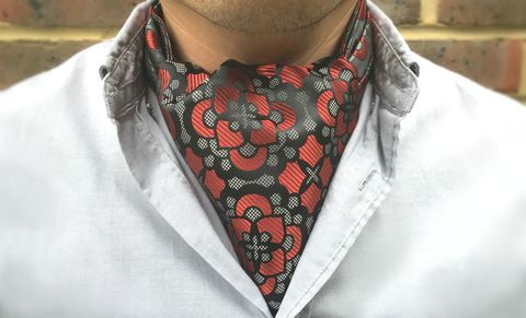 CLANCY,black red silk cravat, floral silk cravat, floral silk ascot tie, black red ascot tie, silk ascots for men, silk cravats for men, silk ascots online, ascot ties online, buy cravat online, buy cravat made in england, ascot ties made in uk, british ascot ti