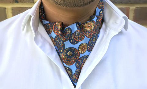 FUHUA,blue silk cravat, blue silk ascot tie, silk ascots for men, silk cravats for men, chinese pattern cravat, oriental pattern cravat, chinese design ascot tie, ascot ties online, buy cravats online, silk cravats, silk ascots, wedding cravat