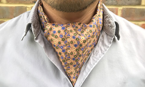 LUPIN,floral cravat, brown floral cravat, brown ascot tie, silk cravat, silk ascot tie, silk cravats online, wedding cravat, groom cravat, wedding ascot tie, ascot ties online, ascots for men, cravats for men