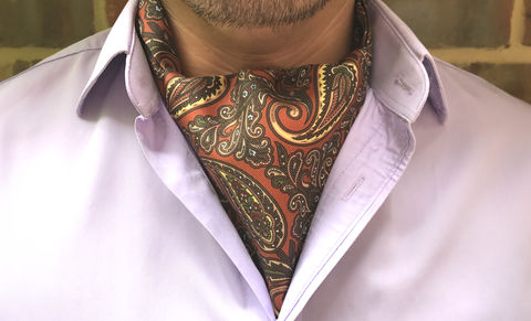 HOWARD,brown paisley cravat, paisley cravat, paisley ascot tie, paisley silk cravat, silk paisley ascot tie, ascot ties, cravats for men, day cravats, buy cravats online, silk cravats online, british cravats, british made ascots