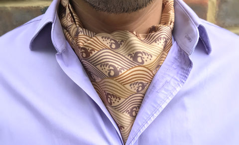 WASHI,brown earth silk cravat, natural silk cravat, wave pattern silk cravat, japanese pattern cravat, japanese print cravat, silk cravats for men, silk cravats online, silk ascots online, silk ascots for men, buy ascots, buy cravats online