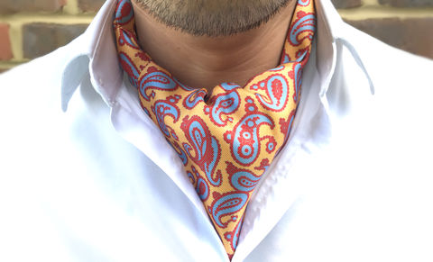 BLYTHE,yellow red paisley cravat, paisley silk cravat, paisley ascot tie, paisley silk ascot, silk ascots, ascots for men, cravats for men, buy cravats online, yellow paisley cravat, red paisley cravat, patterned cravat