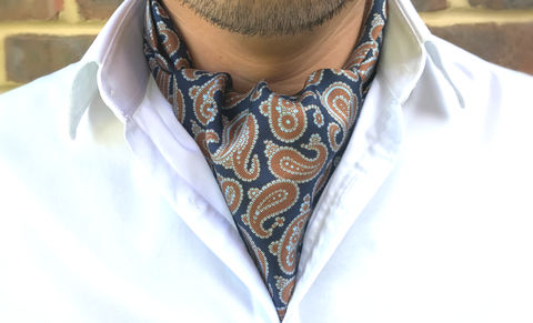ORTUN,navy, burnt orange, paisley cravat, silk cravat, silk ascot tie, ascot ties, silk cravats uk, buy cravat, buy ascot tie, silk accessories for men, men's cravat
