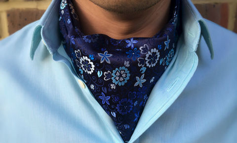 FLORIAN,floral cravat, floral ascot tie, silk cravat, silk ascot tie, silk cravats for men, silk cravats online, silk ascots online, flower cravat, blue cravat, blue ascot tie, british cravat