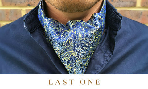 MURDOCH,blue paisley cravat, blue paisley ascot, silk ascot tie, silk cravat tie, blue yellow paisley cravat, blue yellow paisley ascot tie, silk ascot ties, mens silk cravats uk