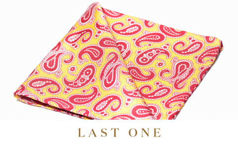 Bastien,pocket square, pocket squares online, pocket square uk, silk pocket square, paisley pocket square, red and yellow silk pocket square, mens paisley silk pocket square, printed silk pocket square, mens hank, handkerchief, silk handkerchief, paisley pocket s