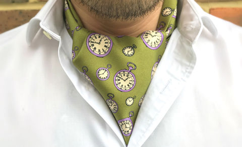 IVAN,pocket watches silk cravat, pocket watch ascot tie, pocket watch pattern cravat, green cravat, green ascot tie, day cravat, day cravats for men, silk cravat, silk ascot tie, ascot ties, cravats online, mens cravat, mens ascot, silk cravats for men, silk c