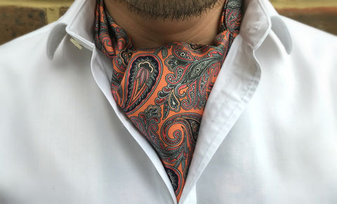 SAEGER,orange cravat, orange ascot, orange silk cravat, orange silk ascot tie, orange paisley cravat, orange paisley ascot tie, silk cravat, silk ascot tie, ascot ties, cravats online, mens cravat, mens ascot, silk cravats for men, silk cravats online