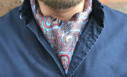 MARINO,sky blue cravat, sky blue ascot tie, blue paisley cravat, light blue cravat, light blue ascot, silk paisley cravat, silk paisley ascot tie, silk cravat, silk ascot tie, ascot ties, cravats online, mens cravat, mens ascot, silk cravats for men