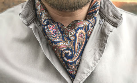 RASMUS,navy paisley cravat, grey blue cravat, blue cravat, navy ascot tie, navy blue cravat, paisley ascot tie, paisley cravat, silk cravat, silk ascot tie, ascot ties, cravats online, mens cravat, mens ascot, silk cravats for men, silk cravats online