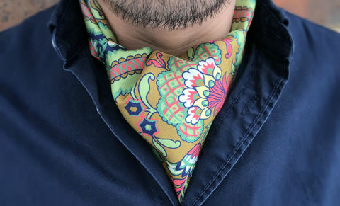 AMARANTH,green ascot tie, pink ascot tie, multicoloured ascot tie, multicoloured cravat, floral cravat, floral ascot tie, silk cravat, silk ascot tie, ascot ties, cravats online, mens cravat, mens ascot, silk cravats for men, silk cravats online