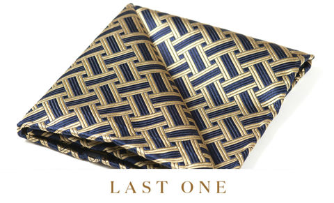 Rueben,gold and navy pocket square, silk pocket square, made in england pocket square, made in britain pocket square, pocket square and cravat, day cravat and pocket square, silk hank, silk hanks, british made pocket square
