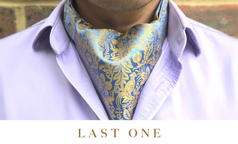 ARAN,bird pattern silk cravat, blue yellow silk cravat, blue yellow ascot tie, patterned ascot tie, silk ascots for men, silk cravats for men, silk ascots online, ascot ties online, buy cravat online, buy cravat made in england, ascot ties made in uk, british