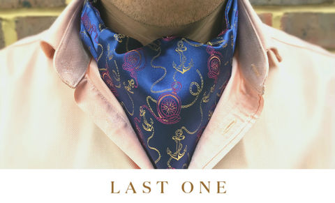 ERASMUS,pink yellow cravat, pocket watch cravat, pocket watches ascot tie, silk ascot nautical, nautical cravat, sailor cravat, sailing cravat, silk ascots for men, silk cravats for men, silk ascots online, ascot ties online, buy cravat online, buy cravat made in