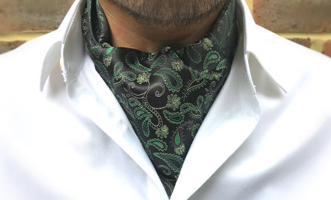 CASPIAN,green paisley cravat, green paisley ascot tie, paisley silk cravat, paisley silk ascot tie, silk cravats online, silk ascot ties online, green cravat, green ascot, luxury cravat, luxury ascot tie