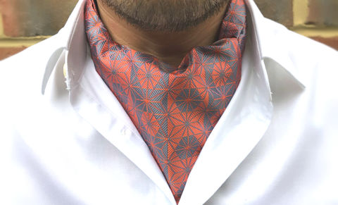 TORA,japanese pattern cravat, geometric cravat, geometric pattern ascot tie, orange cravat, orange grey cravat, orange grey ascot tie, ascots online, cravats online, cravats for men,