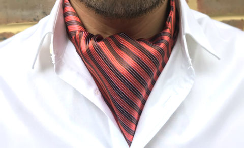 RUFUS,orange brown cravat, stripes cravat, striped cravat, striped ascot tie, silk ascot tie, silk ascots, silk cravats, silk cravats online, cravats online, silk ascots online, ascot tie, orange ascot tie, brown ascot tie, brown cravat